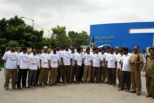 Over a 100 auto drivers turned pedestrians to join the Walkathon to invite all sections of society to work in the Kumudvathi basin to revive old waterways and bring more water to the city.