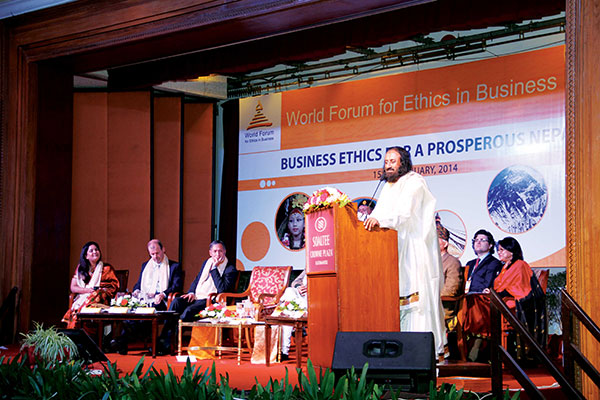 Sri-Sri-addressing-the-audience-at-WFEB-Nepal-conference
