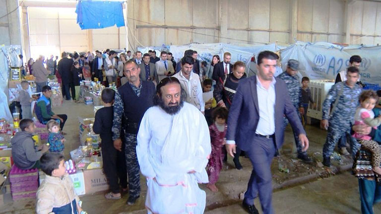 Sri Sri Ravi Shankar visiting the refugee camps near Erbil in Iraq