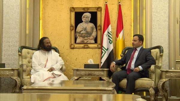 Sri Sri Ravi Shankar with the speaker of the Kurdish Parliament, Dr . Yusuf Mohammed