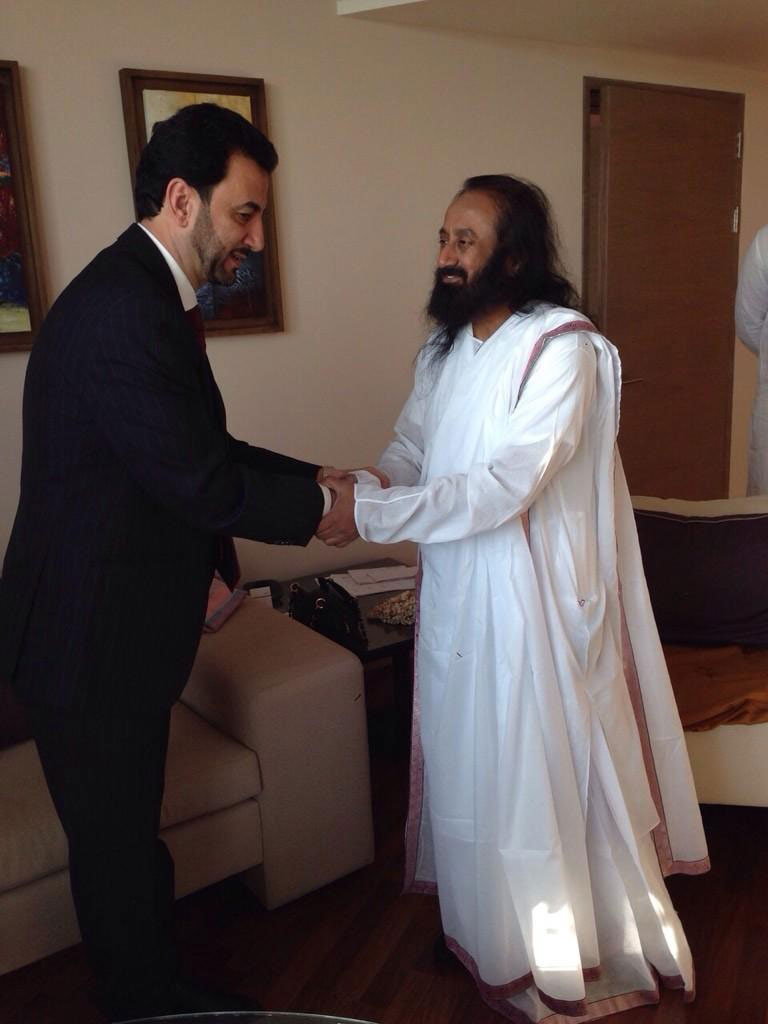Sri Sri with Mr Abdul Hussein Abtan Minister of Sports and Youth Iraq
