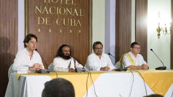 FARC press conference with Sri Sri-Jun-2015