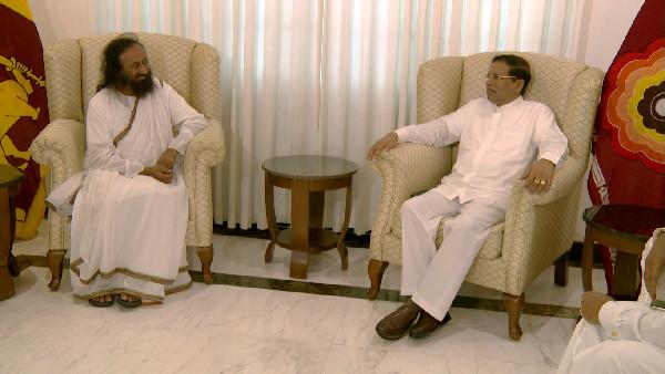 sri sri ravi shankar with sri lankan president 2016