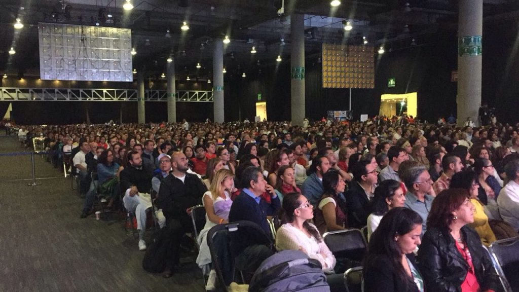 Mexico-Audiences listen intently to Gurudev Sri Sri Ravi Shankar during a public meeting at The World trade Center in Mexico City