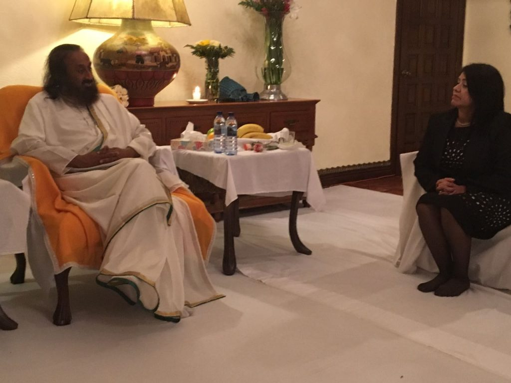 Mexico-Gurudev met with United Nation resident coordinator Miss Rebecca Arias