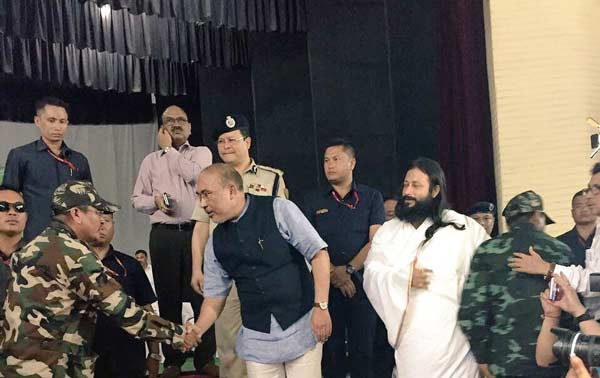Manipur militants surrender in presence of CM Biren Singh and Swami Bhavyatej from Art of Living.