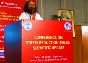 Sri Sri addresses the 'Stress Reduction Skills: Scientific Update' conference