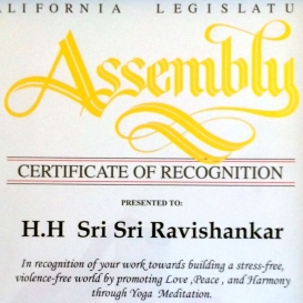 Honor from the California Legislature Assembly